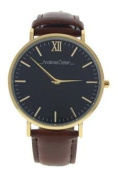 Andreas Osten Ao-87 Klassisk - Gold/brown Leather Strap Watch Watch For Unisex 1 Pc