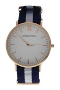 Andreas Osten Ao-56 Somand - Rose Gold/navy Blue-White Nylon Strap Watch Watch For Unisex 1 Pc
