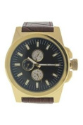 Louis Villiers Lvag3733-18 Gold/brown Leather Strap Watch Watch For Men 1 Pc