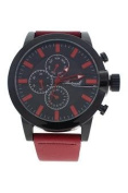 Antoneli Ag1901-02 Black/red Leather Strap Watch Watch For Men 1 Pc