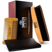 Beard & Moustache Brush and Comb Kit - Boar Bristle Beard Brush & Wooden Grooming Comb - Facial Hair Care Gift Set for Men - Distributes Products & Wax for Styling, Growth & Maintenance - Smooth Viking