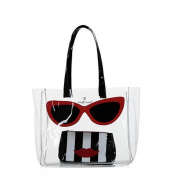 Emma Lomax Clear Marilyn Tote Bag With Striped Cosmetic Bag