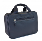 Beschan Extra Large PU Leather Hanging Travel Toiletry Bag Organiser Dopp Kit for Men Blue