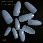 100 Oval False Nail Tips Natural French Acrylic Nail Tips Half Cover False Nails