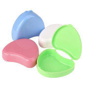 Denture Case,Fheaven Portable Denture Bath Appliance Heart-shaped False Teeth Box Storage Case Rinsing Basket