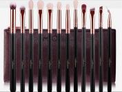 MSQ Eye Makeup Brushes Set Professional 12pcs Rose Gold Natural Hair/Fibre Hair With PU Leather Case Eye Make Up Brushes Eyeshadow Eyeliner Blending Crease Kit With Stamping Logo