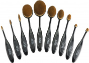Luxury 10 Pc Oval Toothbrush Makeup Brush Set for Blending Foundation Concealer Contours (Liquid Powder Cream) Professional Silky Soft Cosmetic Makeup Brushes Kit Women Eyeshadow Lips and Face