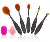Dimo Professional 7pcs Makeup Brush Set, Multifunctional Oval Head Soft Toothbrush Shaped Design Brushes Pack with Foundation Concealer, Blending & Contouring Tools