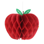 SUNBEAUTY 10cm Red Pack of 5 Apple Shaped Honeycombs Fruit Decoration Baby Shower Paper Craft