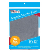 U.S. Art Supply Graphite Carbon Transfer Paper 23cm x 33cm - 25 Sheets - Black Tracing Paper for all Art Surfaces