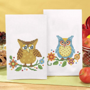 Herrschners Bright Owls Towel Pair Stamped Cross-Stitch