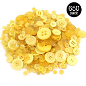 Findfly 550Pcs Yellow Series Resin Buttons Favourite Findings Basic Buttons 2 and 4 Holes Craft Buttons for Arts, DIY Crafts, Decoration, Sewing - Sizes Range from 0.28 to 3cm