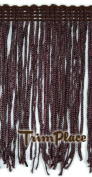 BROWN 10cm RAYON CHAINETTE FRINGE 12 Yards
