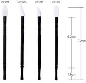 Coshine 100pcs 4 Styles Disposable Nylon Lip Gloss Wands Applicator Lip Colour Brushes