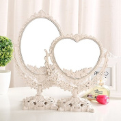 Healthcom 18cm Heart Shaped Vanity Mirror Countertop Mirrors Magnifiers Tabletop Makeup Mirror Bathroom Mirrors,1x/3x Magnification,Large Size