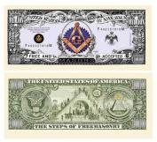 "100 Freemason Masonic Million Dollar Bills with Bonus ""Thanks a Million"" Gift Card Set"