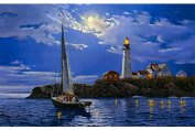 Fipart DIY diamond painting cross stitch craft kit,Wall stickers for living room decoration,Beach lighthouse