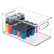 mDesign Craft and Sewing Storage Organiser Bin for Ribbon, Paint - Clear