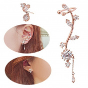 UNKE Earrings Leaves Climber Ear Cuff Chandelier Rhinestone Wrap Pin Asymmetric Flower Tassel Stud