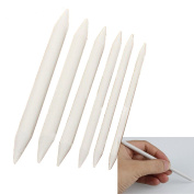 Kangkang@ 6 Pcs/Set Double Ended Durable Art Drawing Pen Tools Stump Sketch Blending Paper Stump Smudge Tortillion Stick Tool White