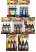 Tim Holtz Adirondack Alcohol Inks - 7 Packages - 21 Ink Bottles total Dockside Picnic, Summit View, Cottage Path, Nature Walk, Cabin Cupboard, Mariners, Farmer's Market