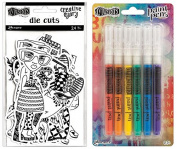 BUNDLE Ranger-Dylusions Creative Dyary Die Cuts PLUS Dylusions Paint Pens