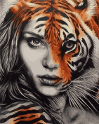 CaptainCrafts New Paint by Numbers 41cm x 50cm for Adults Beginner Children, Kids LINEN Canvas - Different People, Half People Face Half Tiger Face