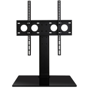 WALI WL-TVDVD-01 Universal Table Top TV Stand with Glass Base & Security Wire Fits Most 80cm - 120cm LED LCD OLED & Plasma Flat Screen TV