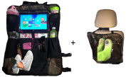 Kick Mats and Premium Car Back of Seat Organiser with iPad / Tablet Holder Touch Screen Pocket- Kids Toy Storage Bags, Auto Seat Back Protector- for Baby Stroller & Travel Accessories from Zzteck
