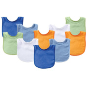 Luvable Friends 10 Pack Baby Bibs Value Pack, Assorted Colours