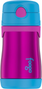 Thermos FOOGO Vacuum Insulated Stainless Steel 300ml Straw Bottle, Aubergine/Blue