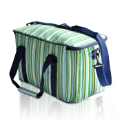 LUYADA 36 Can Large Picnic Cooler Bag Lunch Bag, Green & Sapphire Stripe