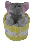 Baby Shower Mini Nappy Cake or Centrepiece with Pampers Swaddlers Nappies - Elephant