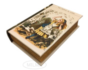 """The Shower of Cards"" from Alice in Wonderland Book Box Stash Box Leather Over Wood Secret Storage Box Keepsake"