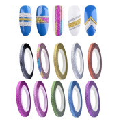 DDLBiz 10 Colours Rolls Striping Tape Line Rough Styles Nail Art Tips Decals Decor, Width