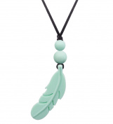 Designer Silicone Feather Pendant Necklace for Female,Baby Teething Relief Teether Toys,100% BPA Free,38cm