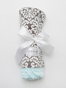 Baby Laundry Patterned Baby Blanket for Boys Girls - Damask Charcoal/Tiffany Bump Baby