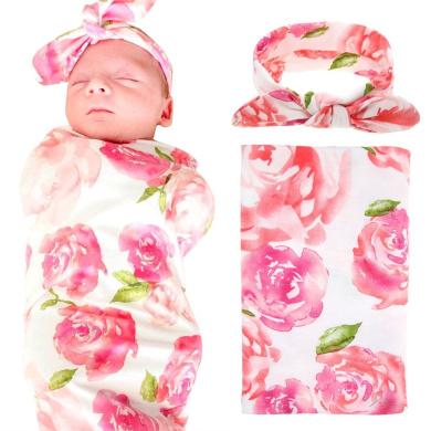 Elesa Miracle Newborn Baby Swaddle Blanket and Headband Value Set,Receiving Blankets, Pink Flower