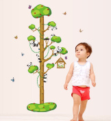 BIBITIME Panda Growth Chart Kids Nursery Wall Sticker Home Decal Mural