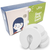 Finger Pinch Guard (4pk) by Wittle. This Easy to Use Foam Door Stopper will Prevent Baby Finger Pinch Injuries, Stop Door From Slamming, and Child & Pets from Accidentally Getting Locked in Room!