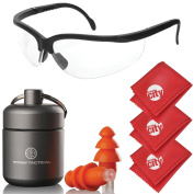 Titan Tactical Eyes + Ear Protection Kit w/ 29NRR Reusable Shooting Ear Plugs + Mil-Spec Clear Range Ballistic Glasses