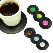 6Pcs Spinning Retro Vinyl Record Drink Coasters