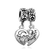 Uniqueen 925 Sterling Silver Mother Daughter Son Heart Charms Dangle Beads Sale fit Pandora Bracelet