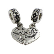 Rosemarie Collections Women's Mother And Daughter Dangle Heart Charm Bead Set