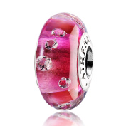 ATHENAIE Genuine Murano Glass 925 Silver Core Effervescence Clear CZ Charms Bead Fit All European Bracelets Colour Rose