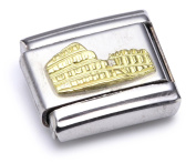 Nomination Composable Classic Relief Monument Colloseum Stainless Steel and 18K Gold