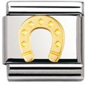 Nomination Composable Classic Good Luck Horseshoe Stainless Steel and 18K Gold