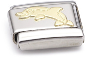 Nomination Composable Classic Water Animals Dolphin Stainless Steel and 18K Gold