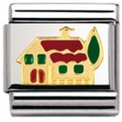 Nomination Composable Classic Daily Life House Stainless Steel, Enamel and 18K Gold