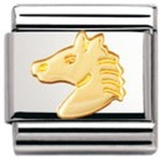 Nomination Composable Classic Land Animals Horse Head Stainless Steel and 18K Gold
